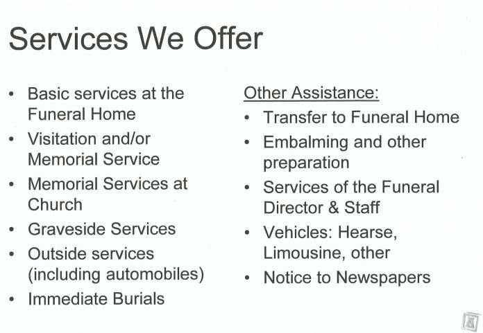 Services offered 06.11.19